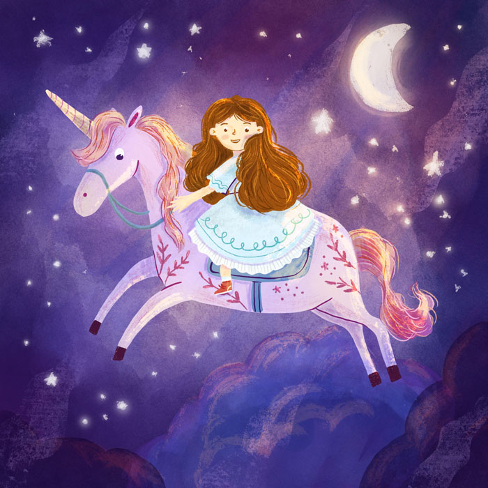 Girl with unicorn